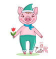 pig in a cartoon style wearing a green hat vector image vector image