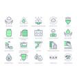 rainwater harvesting line icons vector image