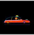 retro taxi car automobile urban transport vector image vector image