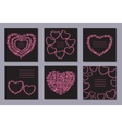 Romantic collection with 6 cards doodle hearts vector image vector image