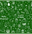 seamless doodles christmas pattern cartoon vector image vector image