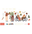senior characters celebrate christmas landing page vector image vector image