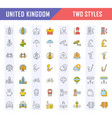 set flat line icons uk vector image vector image