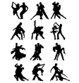 Set of Silhouettes of Dancing Couple vector image vector image
