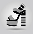 single women platform high heel shoe with striped vector image vector image