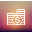 Stack of dollar coin thin line icon vector image vector image