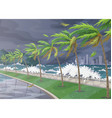 tropical landscape during hurricane incoming vector image vector image