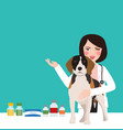 veterinarian animal dog doctor in clinic woman vector image vector image
