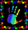 with multicolored handprints border and big palm vector image vector image