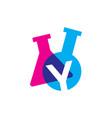 y letter lab laboratory glassware beaker logo icon vector image