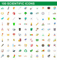 100 scientific icons set cartoon style vector image