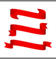 set of shiny red ribbons isolated vector image