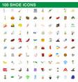 100 shoe icons set cartoon style vector image