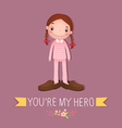 Cute girl wearing in her father s shoes vector image