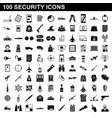 100 security icons set simple style vector image vector image