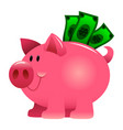 a of a cartoon piggy bank stuffed with green vector image vector image