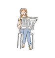 a woman or girl in cassual wear reading newspaper vector image vector image