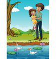 a young girl and her father at the riverbank vector image