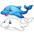 animal outline for cute dolphin vector image vector image