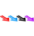 arrows colored moving down 3d icons vector image vector image