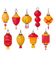 asian lanterns chinese traditional red paper vector image vector image