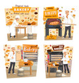bakery shop patisserie baker profession vector image vector image