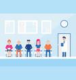 cartoon color characters people patients doctors vector image vector image