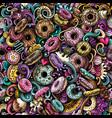 cartoon cute doodles hand drawn donuts seamless vector image vector image