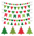 Christmas trees and decoration set vector image vector image