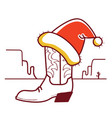 christmas wild west with cowboy boot and santa vector image vector image