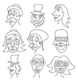 Different comic faces hipster faces with mustaches vector image vector image