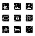 Disabled people icons set grunge style vector image vector image