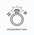 engagement ring flat line icon outline vector image