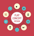flat icons ship steering wheel treasure map vector image