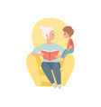 grandma sitting in the armchair and reading book vector image