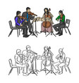 group of musicians playing in quartet vector image vector image