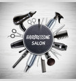 hairdressing tools realistic composition vector image vector image