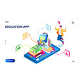 isometric online education application page vector image