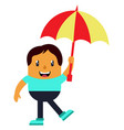 man with umbrella on white background vector image vector image