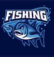 mascot fishing giant trevally vector image vector image
