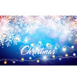 merry christmas on shiny snowflake vector image vector image