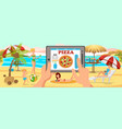 online order pizza on beach family on beach vector image vector image
