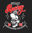 outlaw racing emblem template with skull in vector image vector image