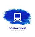 passenger train icon - blue watercolor background vector image