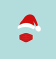 santa claus head label with red surgical mask vector image vector image