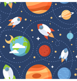 Seamless children cartoon space pattern vector image