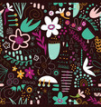 seamless doodle background abstract shapes vector image vector image
