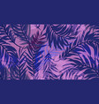 seamless pattern tropical palm leaf on purple vector image vector image