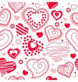 seamless pattern with red contour hearts vector image