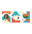 set banners for party with watermelon and vector image